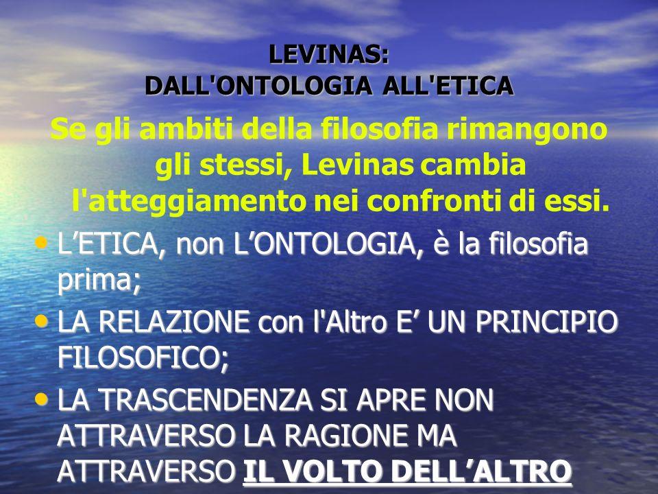 LEVINAS: DALL ONTOLOGIA ALL ETICA