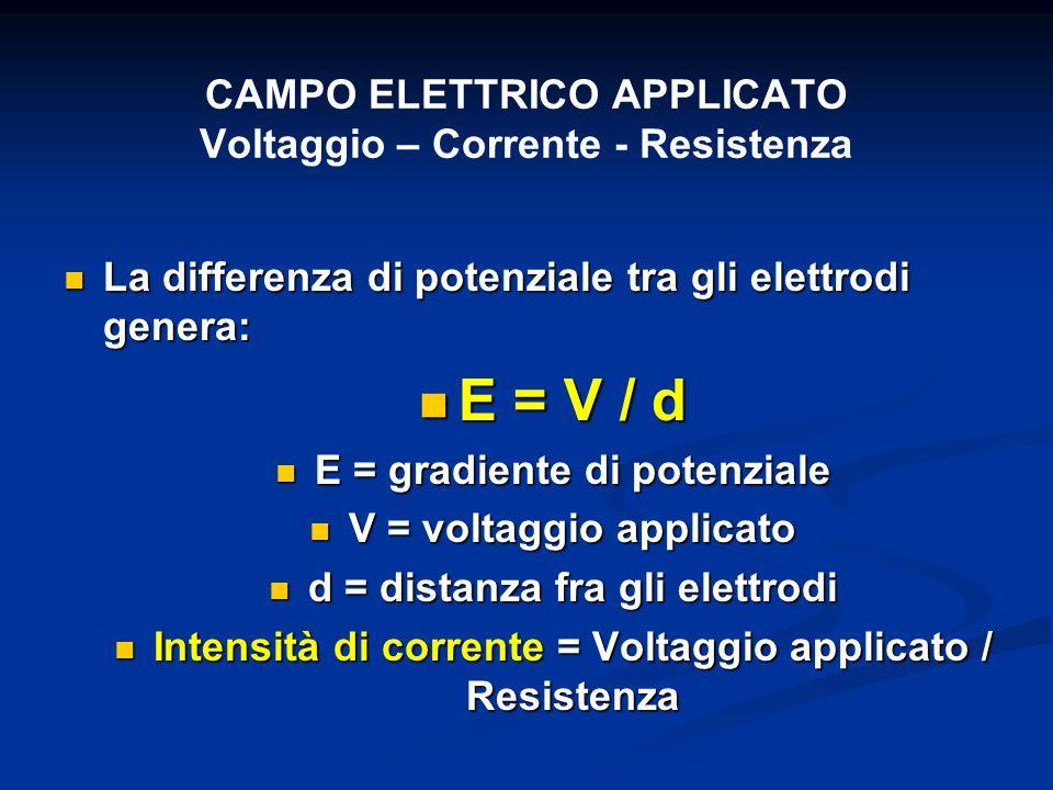 CAMPO ELETTRICO APPLICATO Voltaggio – Corrente - Resistenza