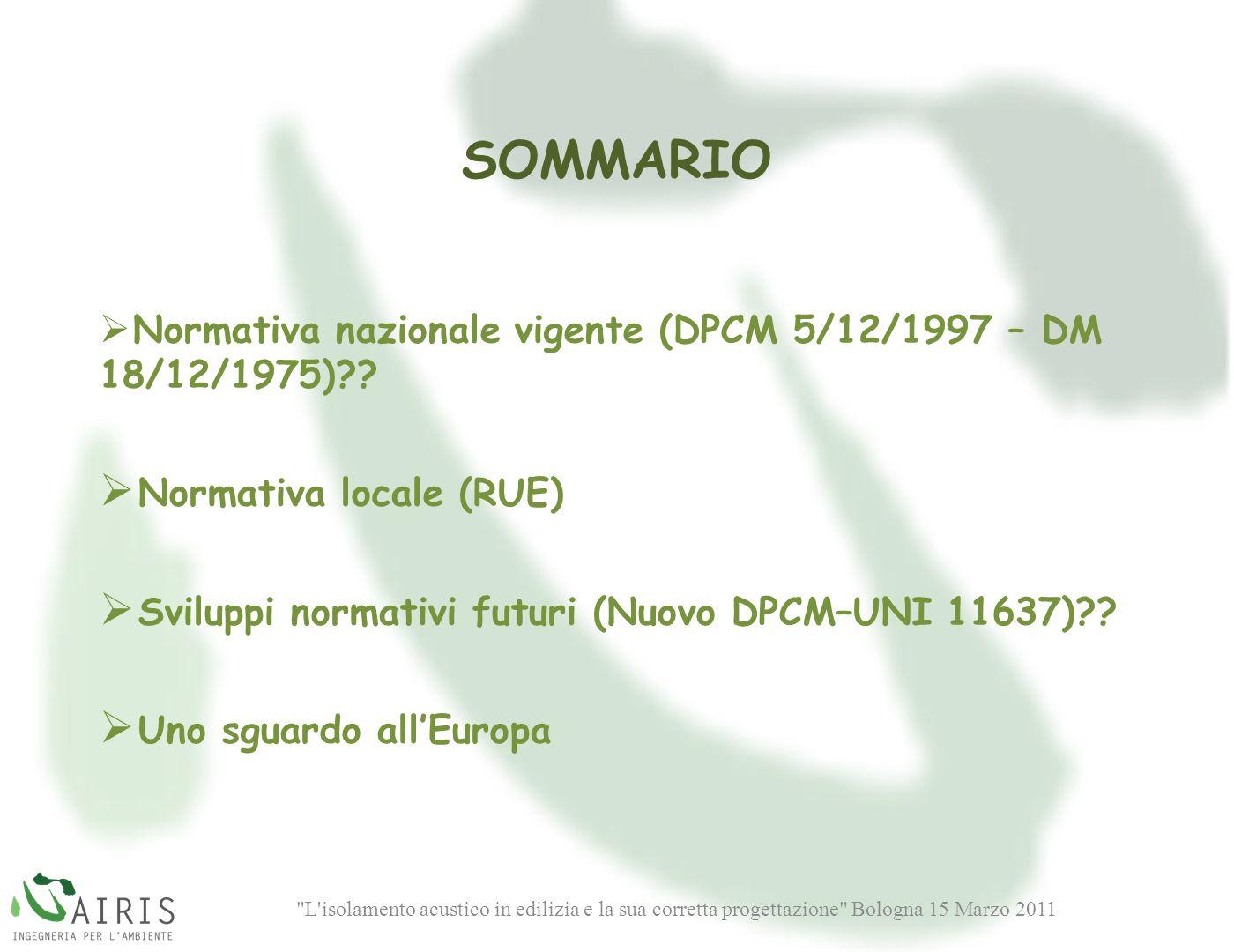SOMMARIO Normativa locale (RUE)