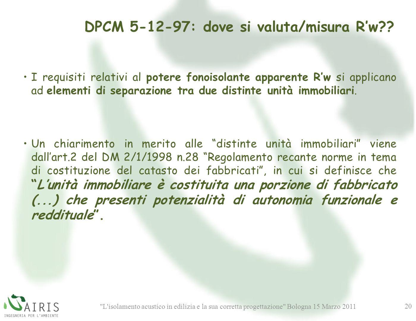 DPCM 5-12-97: dove si valuta/misura R'w
