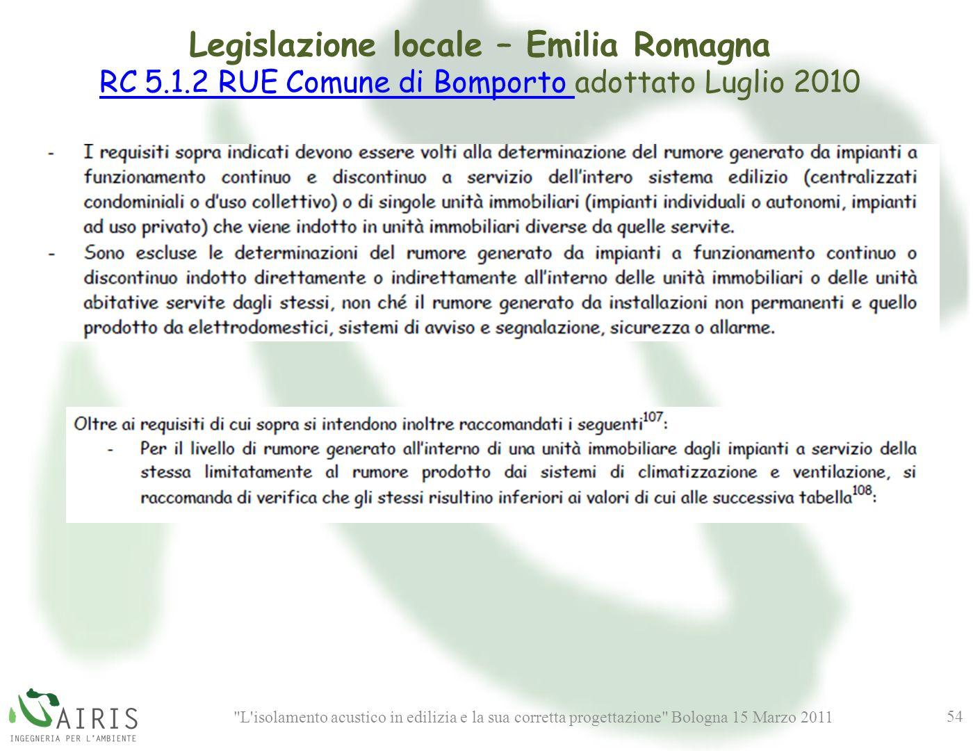 Legislazione locale – Emilia Romagna