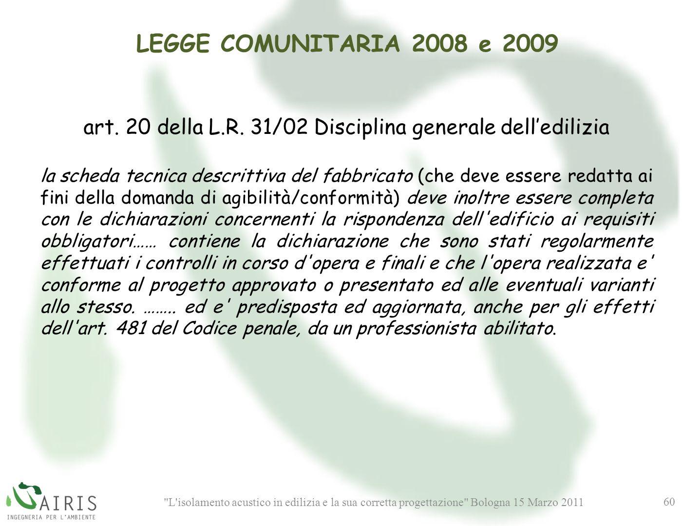 art. 20 della L.R. 31/02 Disciplina generale dell'edilizia