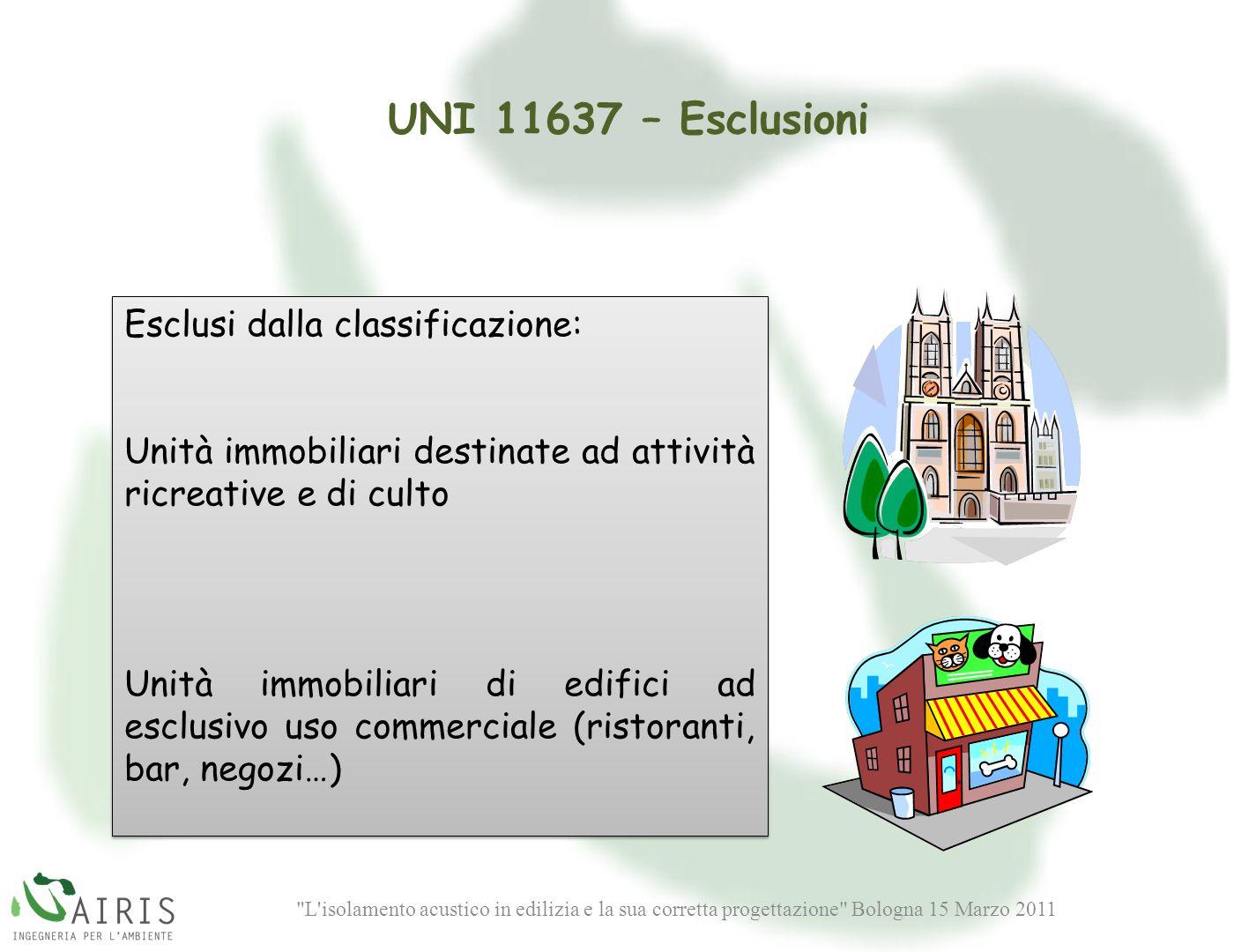 UNI 11637 – Esclusioni Esclusi dalla classificazione: