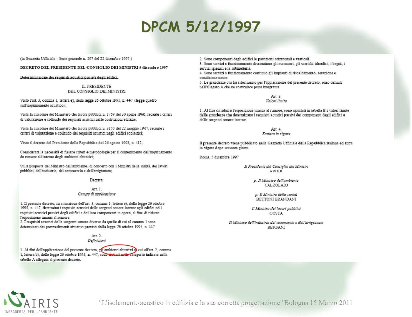DPCM 5/12/1997 Le prove sono state eseguite in una camera da letto ubicata al primo piano di un edificio in costruzione.