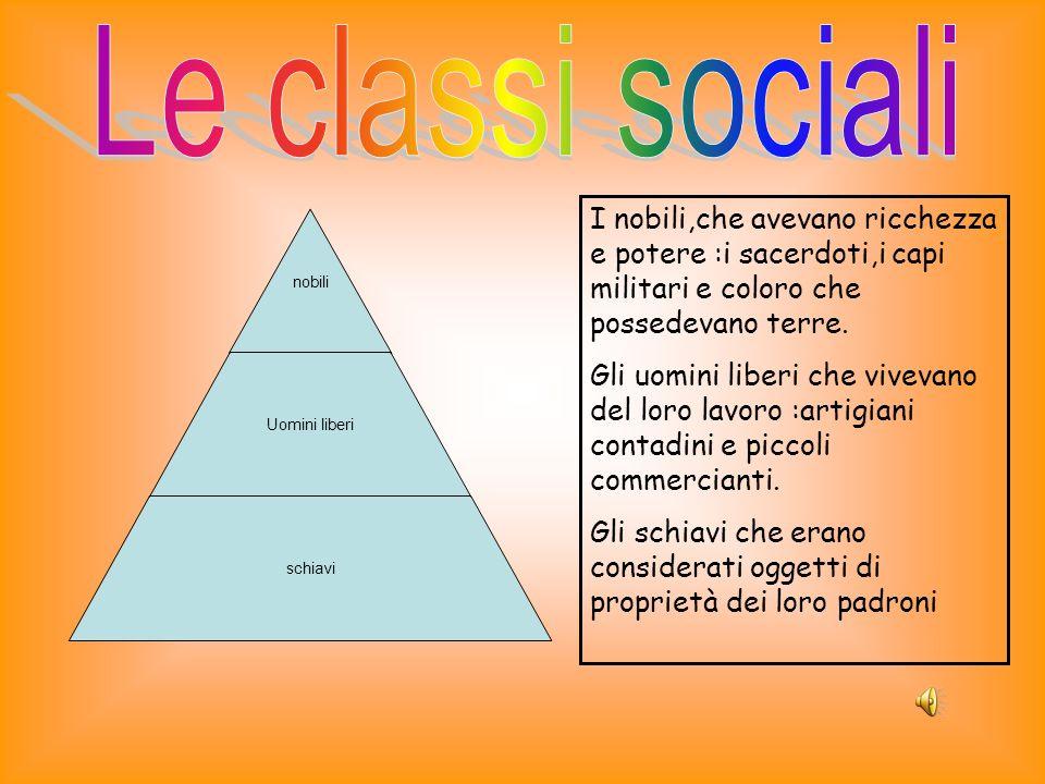 Le classi sociali I nobili,che avevano ricchezza e potere :i sacerdoti,i capi militari e coloro che possedevano terre.