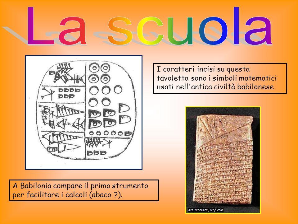 La scuola I caratteri incisi su questa tavoletta sono i simboli matematici usati nell antica civiltà babilonese.