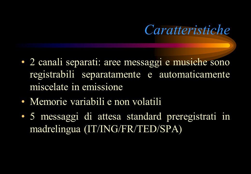 Caratteristiche 2 canali separati: aree messaggi e musiche sono registrabili separatamente e automaticamente miscelate in emissione.