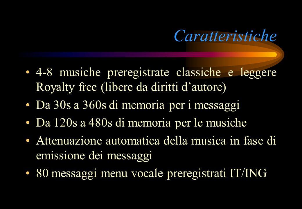 Caratteristiche 4-8 musiche preregistrate classiche e leggere Royalty free (libere da diritti d'autore)