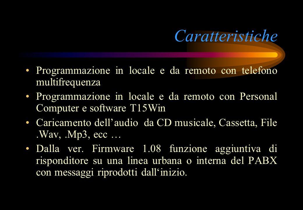 Caratteristiche Programmazione in locale e da remoto con telefono multifrequenza.