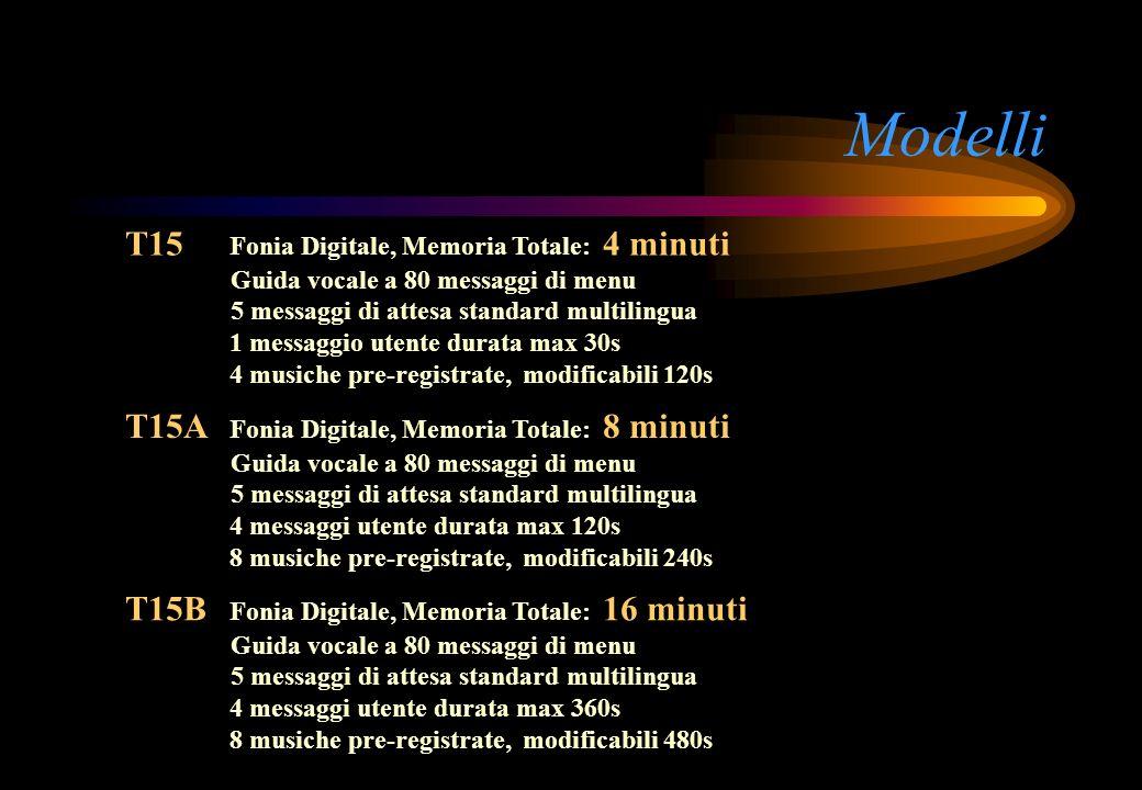 Modelli T15 Fonia Digitale, Memoria Totale: 4 minuti