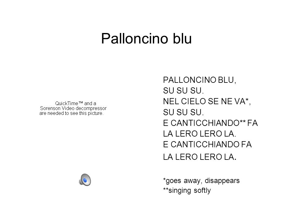 Palloncino blu PALLONCINO BLU, SU SU SU. NEL CIELO SE NE VA*,