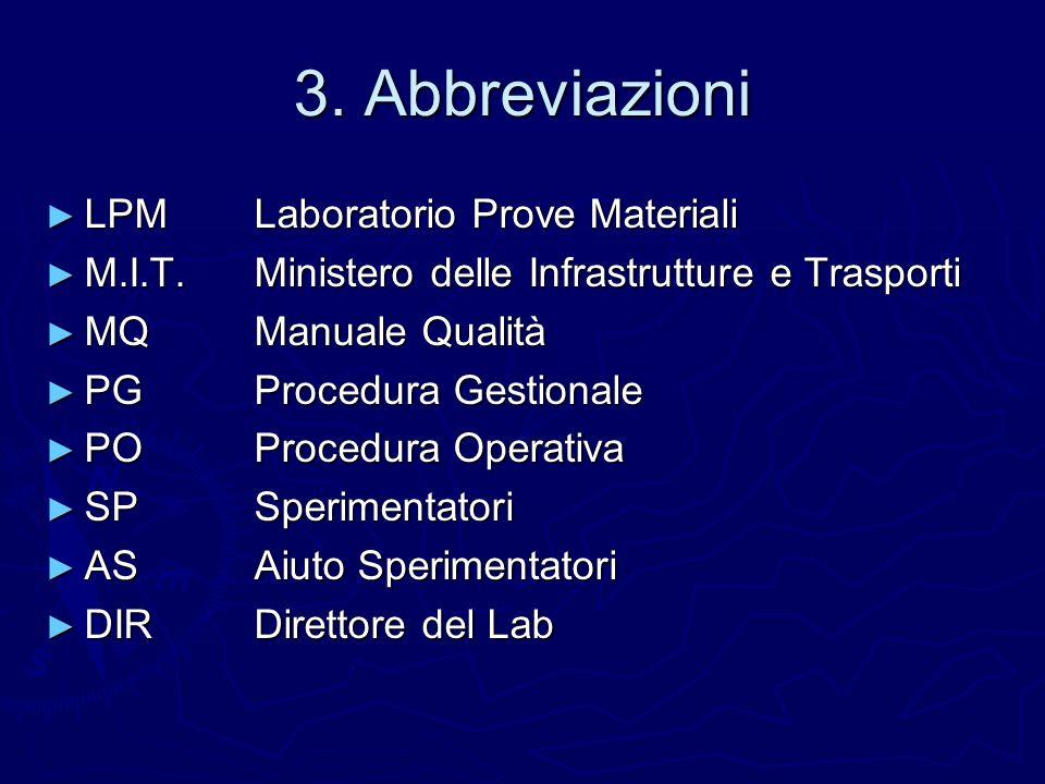 3. Abbreviazioni LPM Laboratorio Prove Materiali