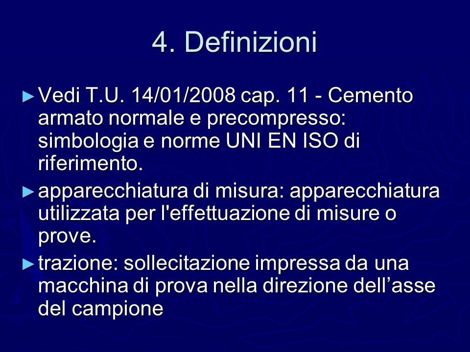 4. Definizioni Vedi T.U. 14/01/2008 cap. 11 - Cemento armato normale e precompresso: simbologia e norme UNI EN ISO di riferimento.