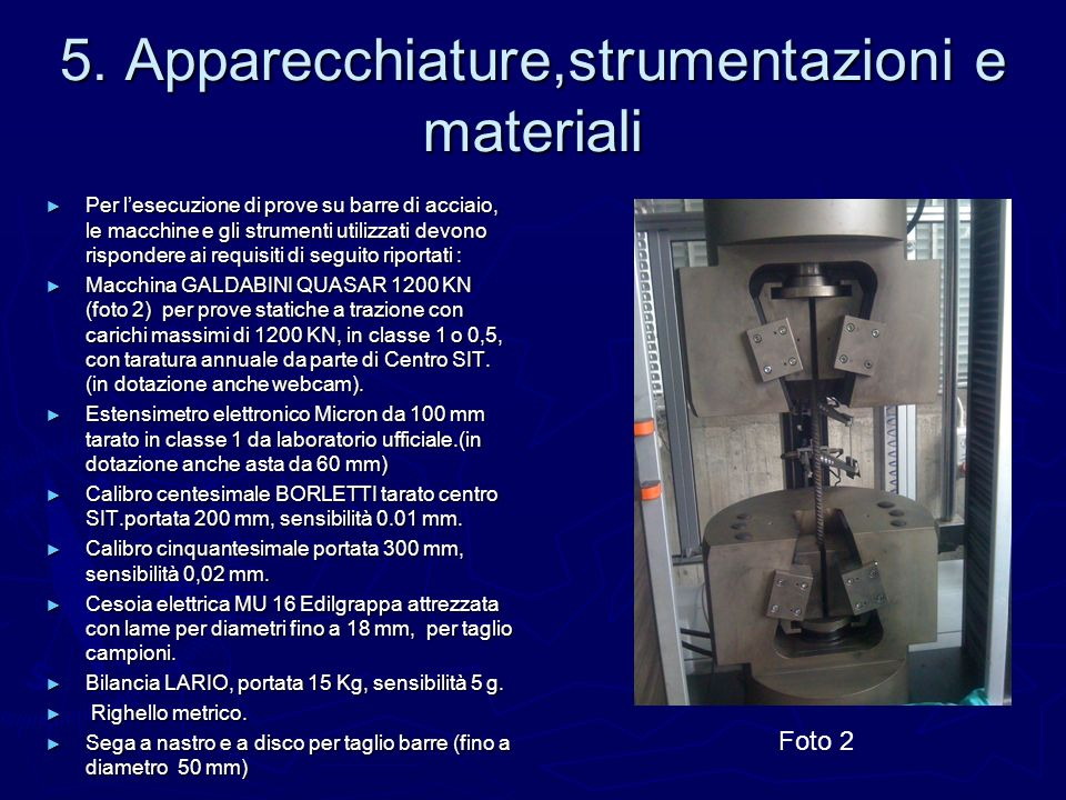 5. Apparecchiature,strumentazioni e materiali