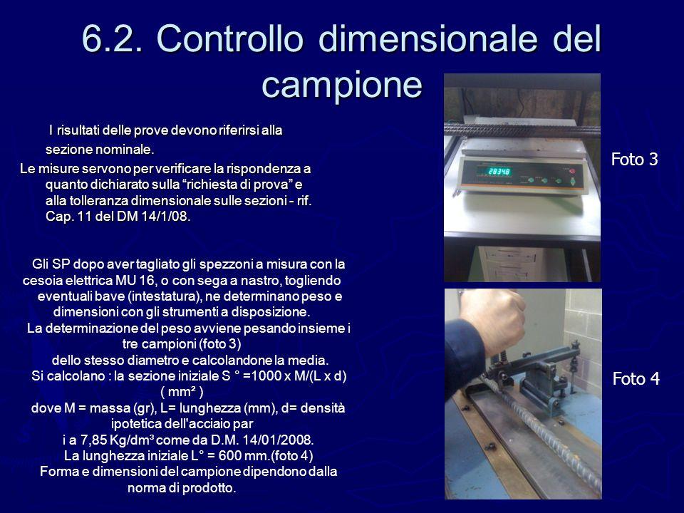 6.2. Controllo dimensionale del campione