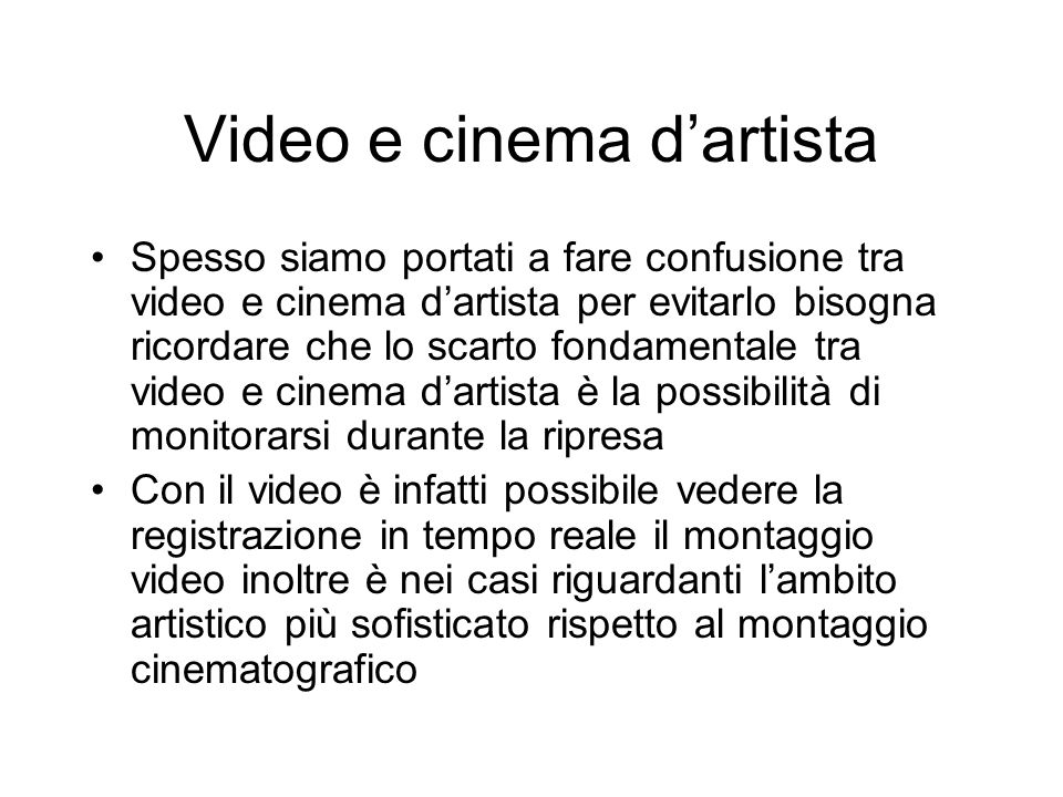 Video e cinema d'artista