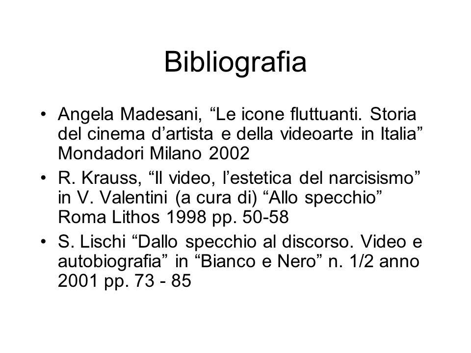 Bibliografia Angela Madesani, Le icone fluttuanti. Storia del cinema d'artista e della videoarte in Italia Mondadori Milano 2002.