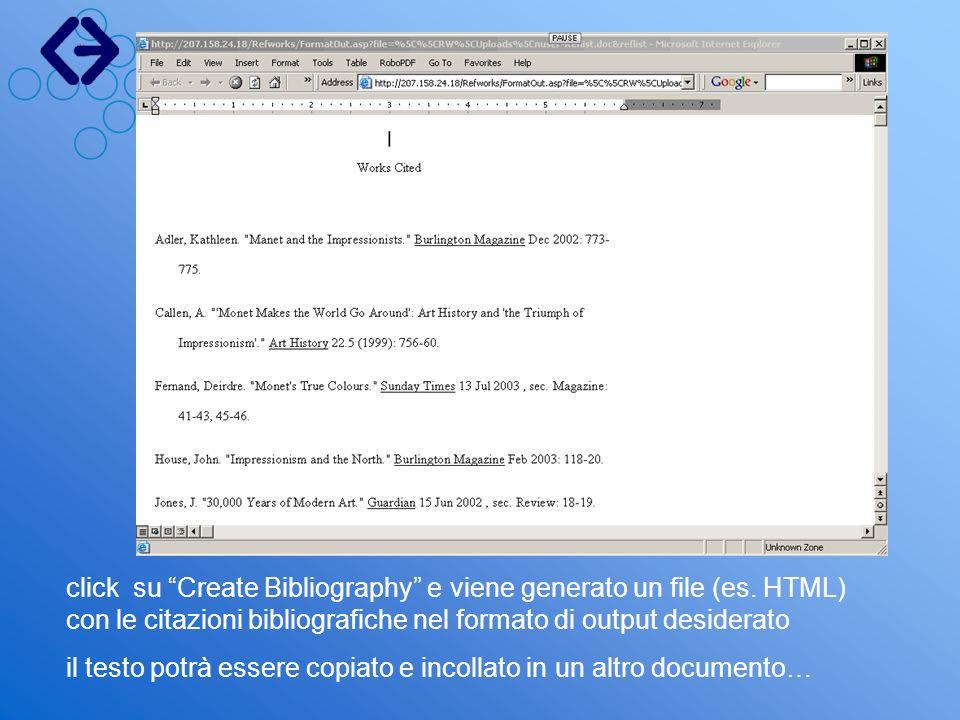 click su Create Bibliography e viene generato un file (es