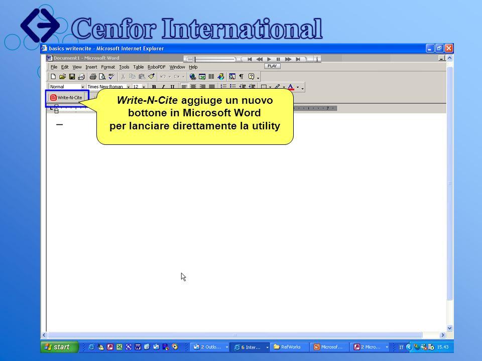 Write-N-Cite aggiuge un nuovo bottone in Microsoft Word per lanciare direttamente la utility