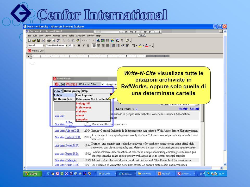 Write-N-Cite visualizza tutte le citazioni archiviate in RefWorks, oppure solo quelle di una determinata cartella
