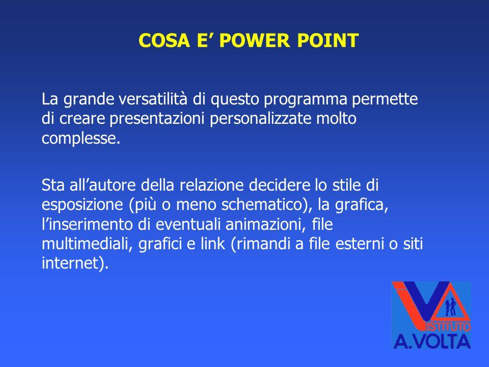 COSA E' POWER POINT La grande versatilità di questo programma permette di creare presentazioni personalizzate molto complesse.