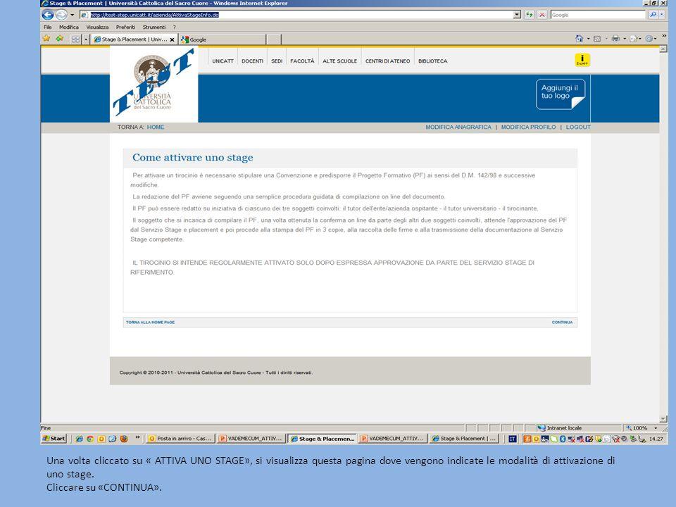Una volta cliccato su « ATTIVA UNO STAGE», si visualizza questa pagina dove vengono indicate le modalità di attivazione di uno stage.