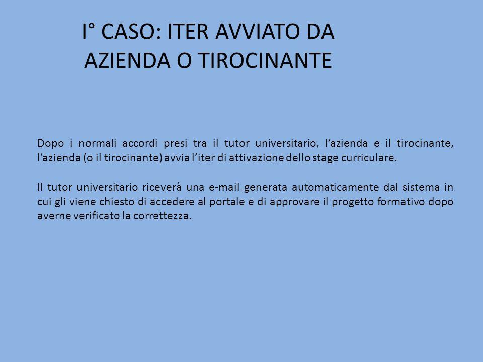I° CASO: ITER AVVIATO DA AZIENDA O TIROCINANTE