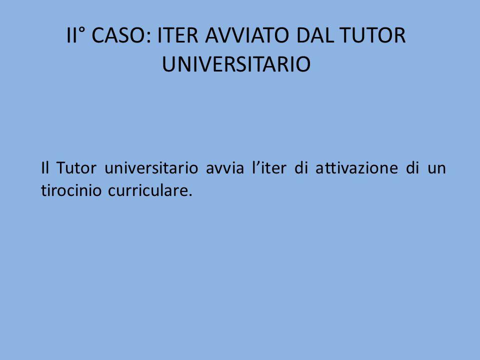 II° CASO: ITER AVVIATO DAL TUTOR UNIVERSITARIO