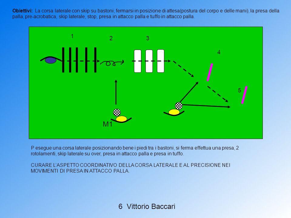 Obiettivi: La corsa laterale con skip su bastoni, fermarsi in posizione di attesa(postura del corpo e delle mani), la presa della palla, pre-acrobatica, skip laterale, stop, presa in attacco palla e tuffo in attacco palla.