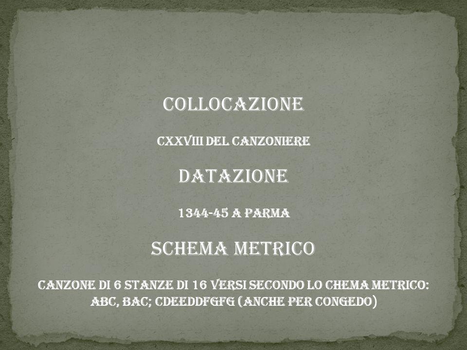 Collocazione Datazione Schema metrico CXXVIII del Canzoniere