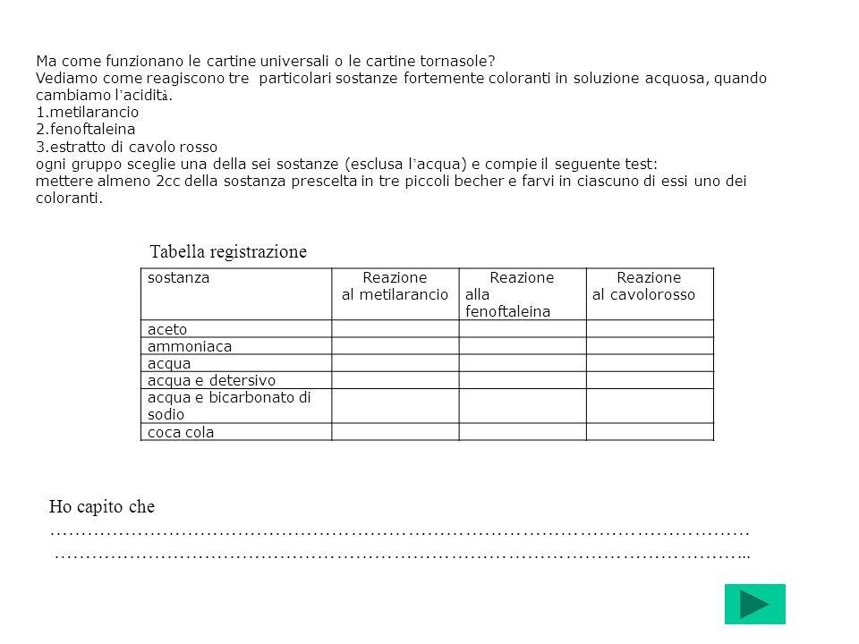 Tabella registrazione