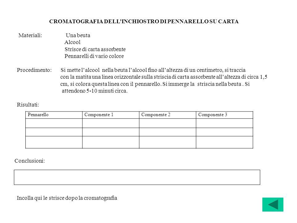 CROMATOGRAFIA DELL'INCHIOSTRO DI PENNARELLO SU CARTA