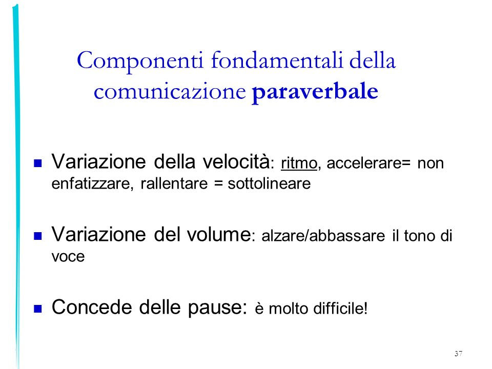 Componenti fondamentali della comunicazione paraverbale