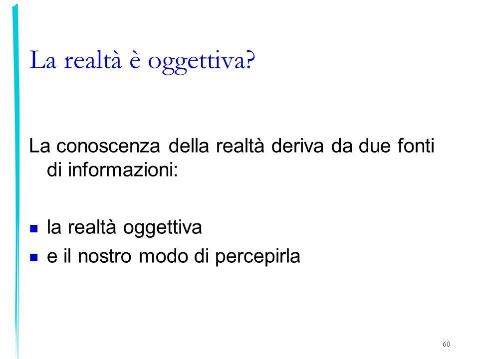 La realtà è oggettiva La conoscenza della realtà deriva da due fonti di informazioni: la realtà oggettiva.