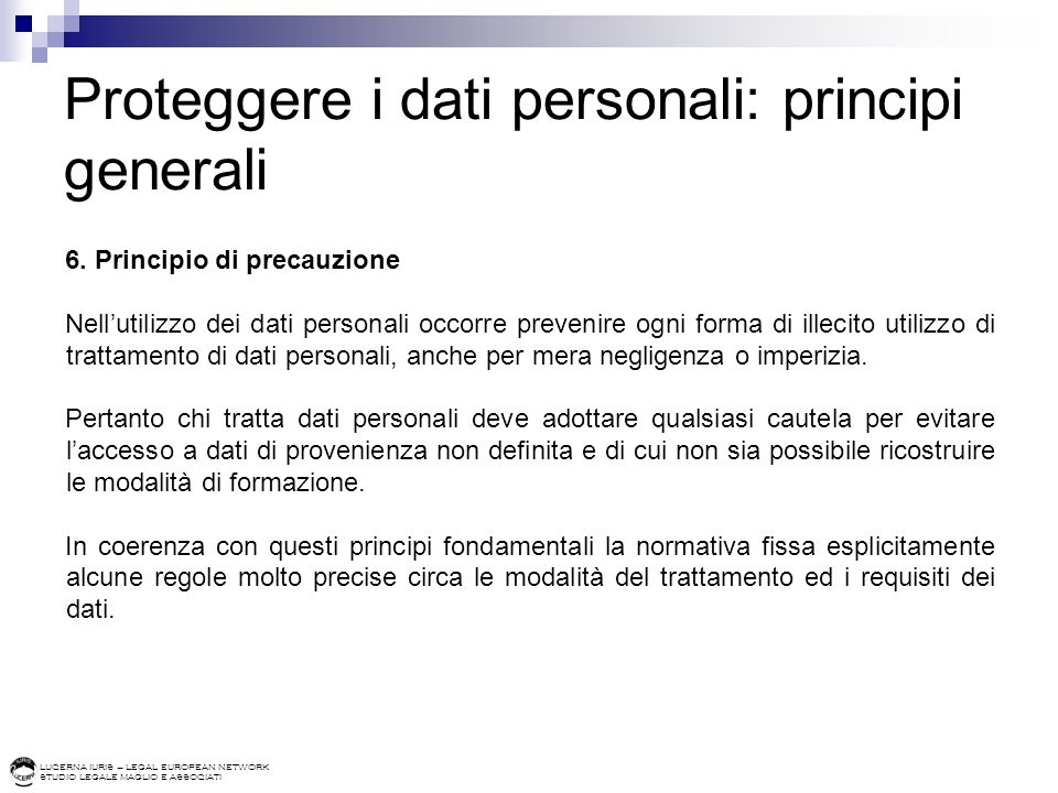 Proteggere i dati personali: principi generali