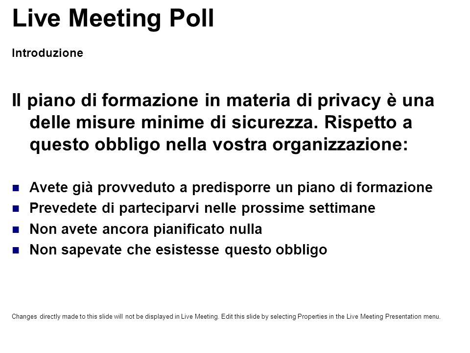 Live Meeting Poll Introduzione.