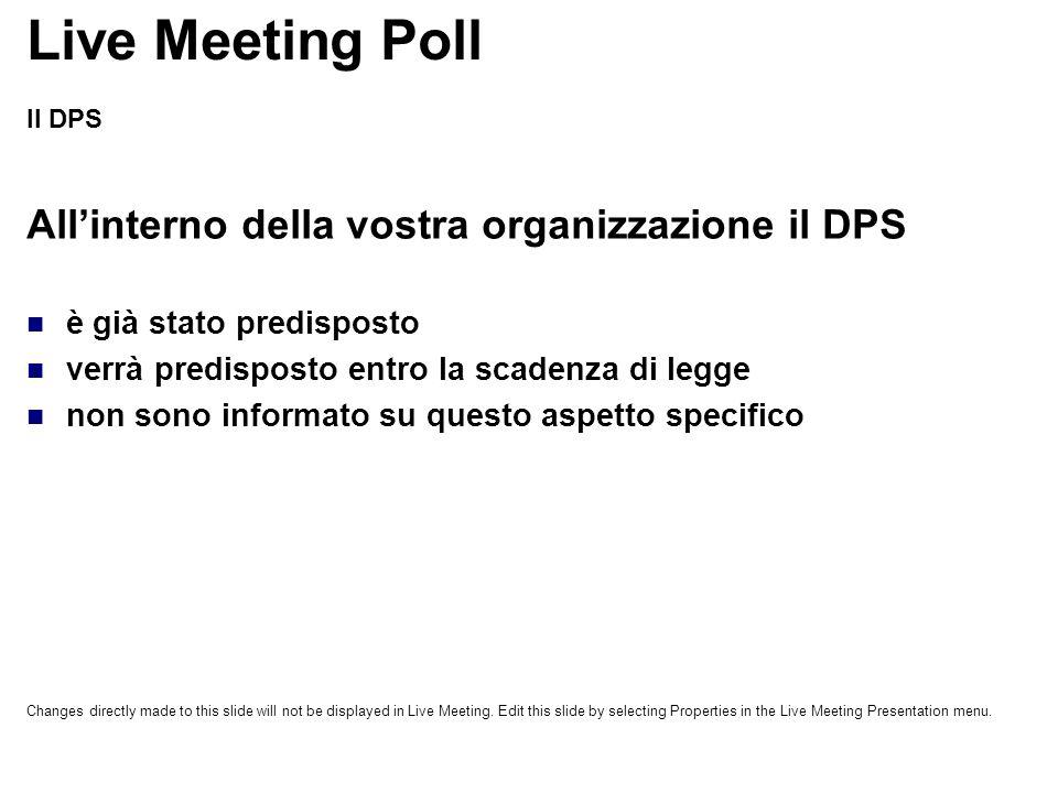 Live Meeting Poll All'interno della vostra organizzazione il DPS
