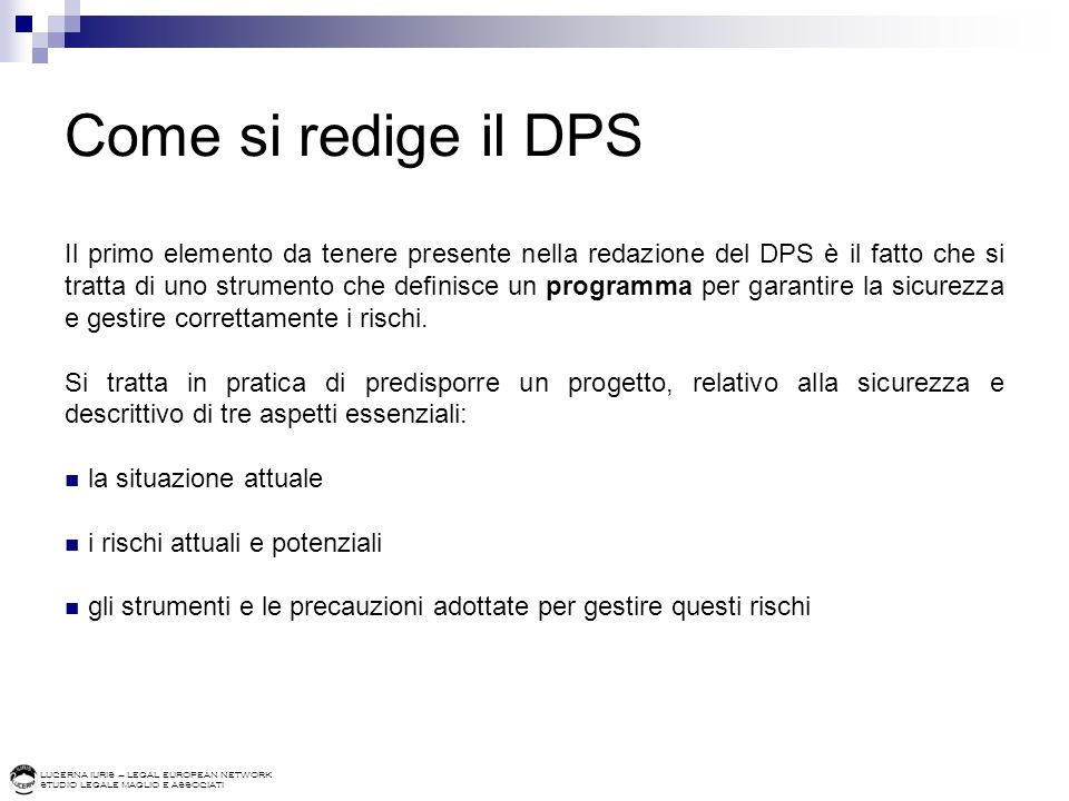 Come si redige il DPS
