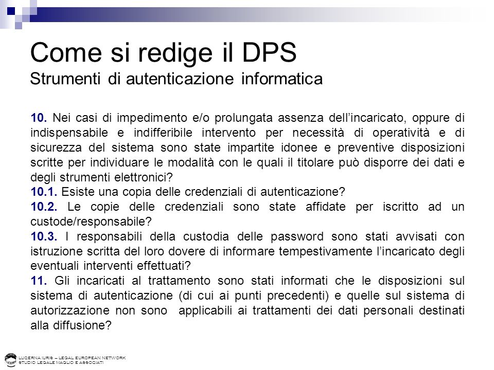 Come si redige il DPS Strumenti di autenticazione informatica