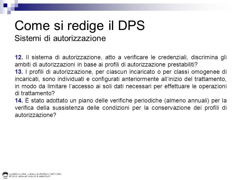 Come si redige il DPS Sistemi di autorizzazione