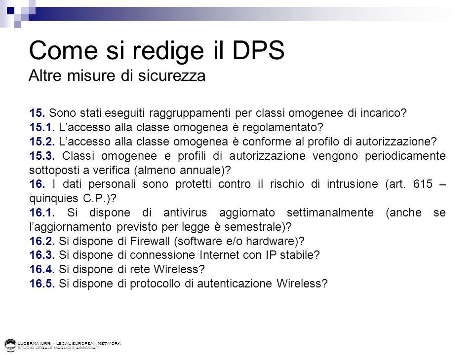 Come si redige il DPS Altre misure di sicurezza