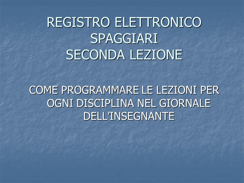 REGISTRO ELETTRONICO SPAGGIARI SECONDA LEZIONE