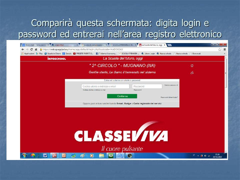 Comparirà questa schermata: digita login e password ed entrerai nell'area registro elettronico