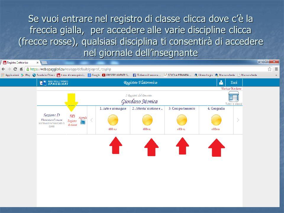 Se vuoi entrare nel registro di classe clicca dove c'è la freccia gialla, per accedere alle varie discipline clicca (frecce rosse), qualsiasi disciplina ti consentirà di accedere nel giornale dell'insegnante