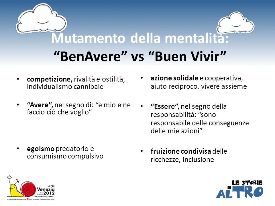 Mutamento della mentalità: BenAvere vs Buen Vivir