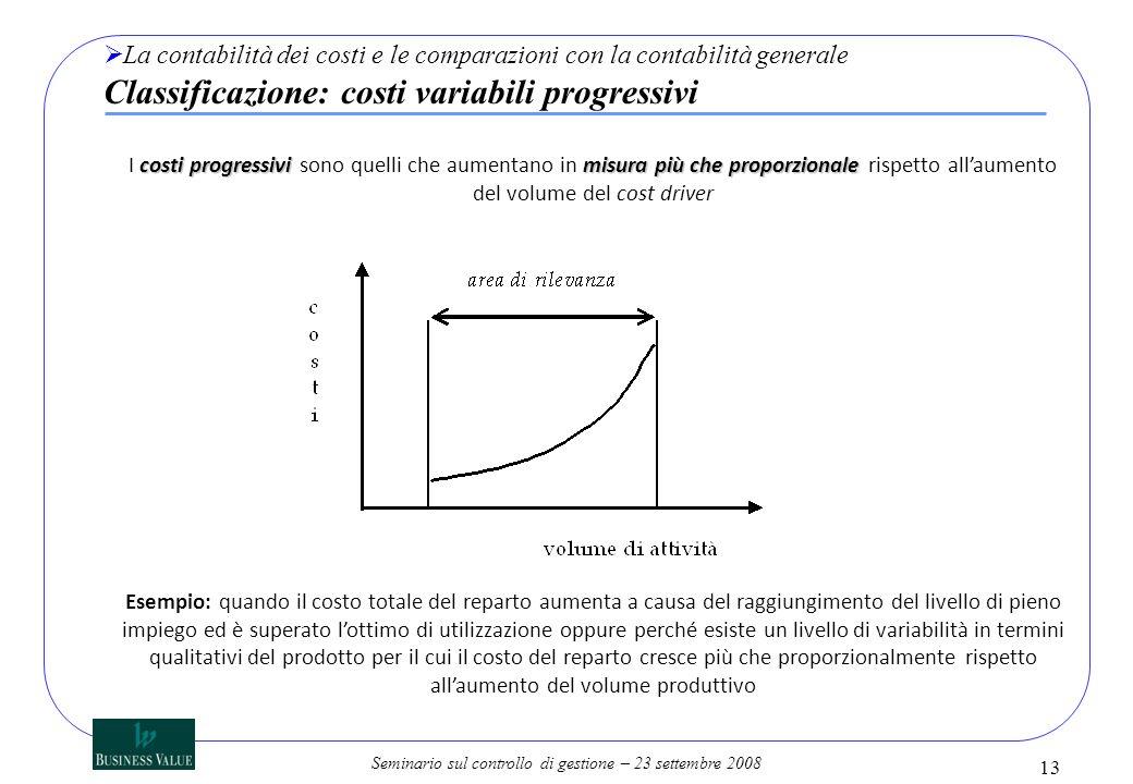 La contabilità dei costi e le comparazioni con la contabilità generale Classificazione: costi variabili progressivi