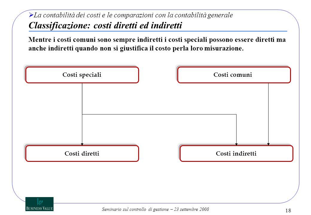 La contabilità dei costi e le comparazioni con la contabilità generale Classificazione: costi diretti ed indiretti
