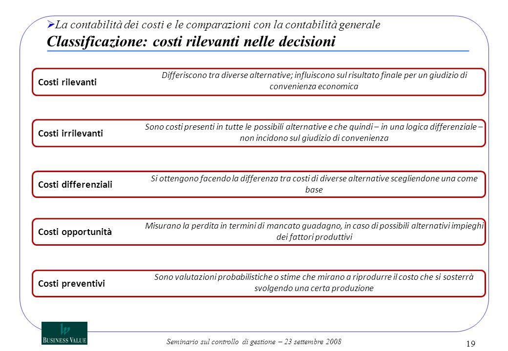 La contabilità dei costi e le comparazioni con la contabilità generale Classificazione: costi rilevanti nelle decisioni