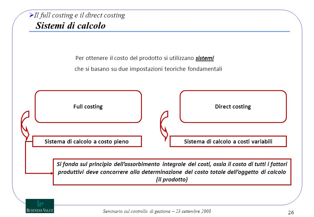 Sistema di calcolo a costo pieno Sistema di calcolo a costi variabili