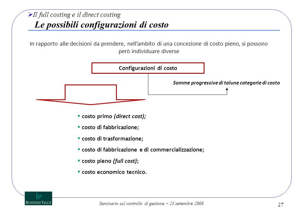 Configurazioni di costo Somme progressive di talune categorie di costo